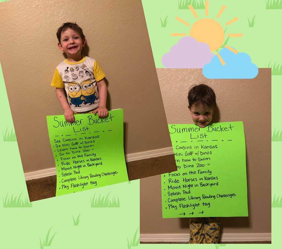 Little boy with summer bucket list